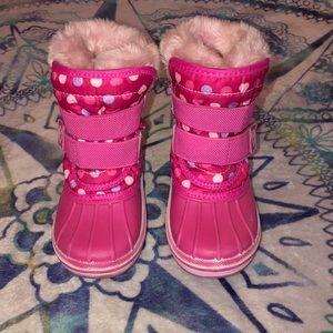 Pink Polka Dot Fur Trim Snow Boots